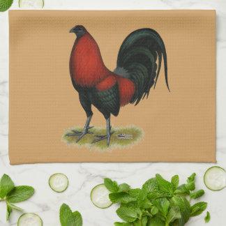 Paño De Cocina Gallo americano del rojo del negro del BB del