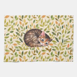Paño De Cocina Gato soñoliento, fondo floral
