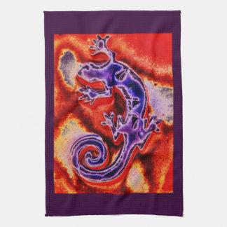 Paño De Cocina Gecko anaranjado púrpura azul enrrollado del