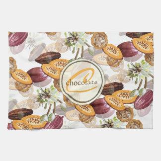 Paño De Cocina Granos de cacao, flores del chocolate, los regalos