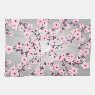 Paño De Cocina Gris rosado de las flores de cerezo