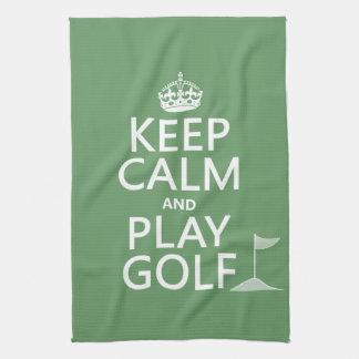 Paño De Cocina Guarde el golf de la calma y del juego - todos los