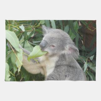 Paño De Cocina Koala que come la hoja de la goma