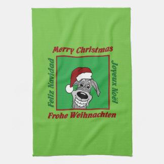Paño De Cocina La Wolfhound irlandesa navidad