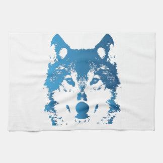 Paño De Cocina Lobo de los azules claros del ilustracion