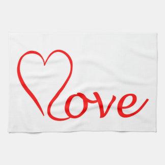 Paño De Cocina Love corazón en fondo blanco