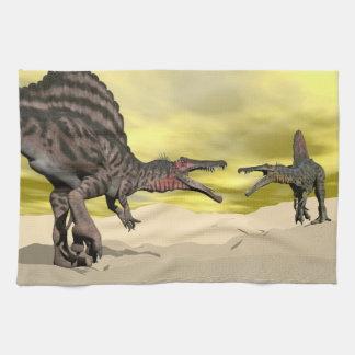 Paño De Cocina Lucha del dinosaurio de Spinosaurus - 3D rinden