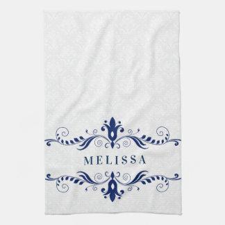 Paño De Cocina Marco floral de los remolinos del vintage azul