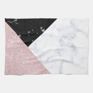 Paño De Cocina Mármol negro blanco del purpurina color de rosa