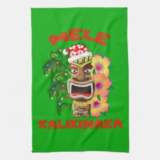 Paño De Cocina Mele Kalikimaka Papá Noel Tiki