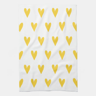 Paño De Cocina Modelo amarillo de los corazones