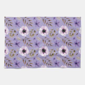 Paño De Cocina Modelo botánico floral púrpura dibujado romántico