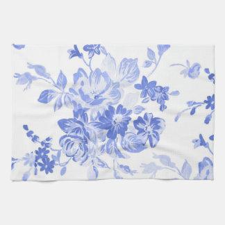 Paño De Cocina Modelo de flores azules y blancas