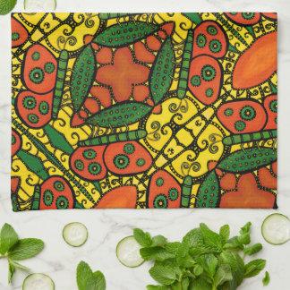 Paño De Cocina Modelo de mariposa verde amarillo-naranja