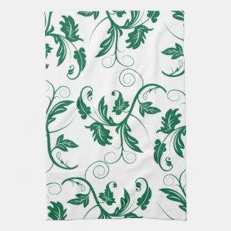 Paño De Cocina Modelo verde floral de la vid del remolino