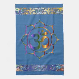 Paño De Cocina Namaste Aum OM Lotus con la frontera del vintage