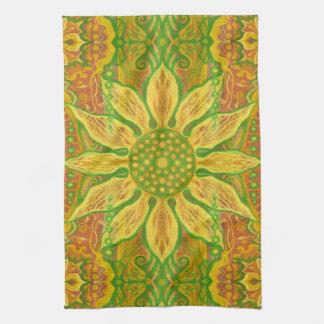 Paño De Cocina Naranja floral bohemio del verde amarillo del arte