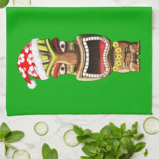 Paño De Cocina Navidad hawaiano Santa Tiki