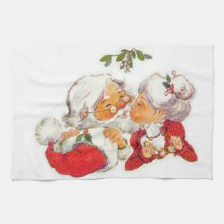 Paño De Cocina Navidad Santa del vintage que besa a señora Claus
