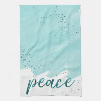 Paño De Cocina Navidad verde azulado de la acuarela de la paz el