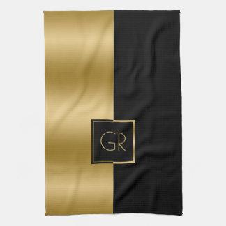 Paño De Cocina Negro y diseño geométrico simple del oro