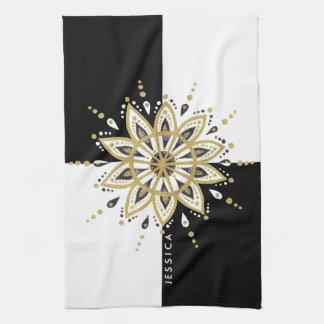 Paño De Cocina Oro negro y diseño blanco de la mandala del