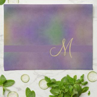 Paño De Cocina Oro verde magenta púrpura abstracto del monograma