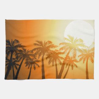 Paño De Cocina Palmeras tropicales en la puesta del sol