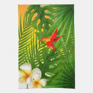 Paño De Cocina Paraíso tropical con un colibrí