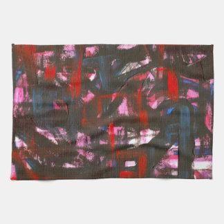 Paño De Cocina Pinceladas abstractas pintadas Puesta del sol-Mano