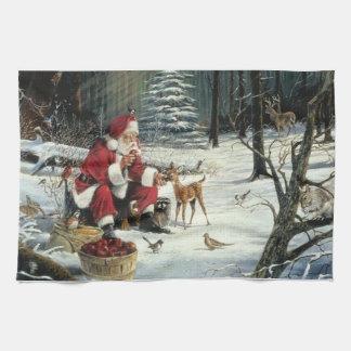 Paño De Cocina Pintura de Papá Noel - arte del navidad