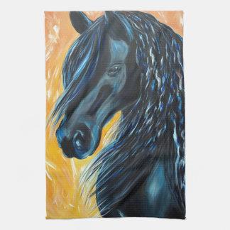Paño De Cocina Pintura negra del caballo