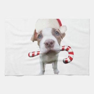 Paño De Cocina Pitbull del navidad - pitbull de santa - perro de