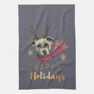 Paño De Cocina Pitbull del reno del navidad con las falsas