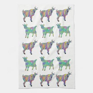 Paño De Cocina Porciones animales del arte de cabras coloridas