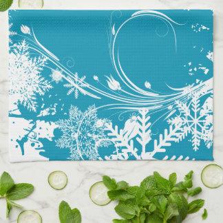 Paño De Cocina Prado azul del invierno - buenas fiestas