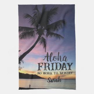 Paño De Cocina Puesta del sol de la palma de Hawaii del fin de