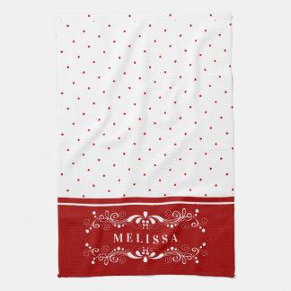 Paño De Cocina Puntos rojos y monograma floral del marco de los