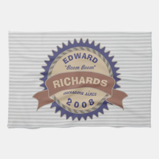 Paño De Cocina Rayas azules del gris del logotipo de Brown del