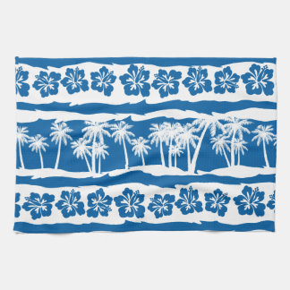 Paño De Cocina Rayas tropicales de la palma de la playa