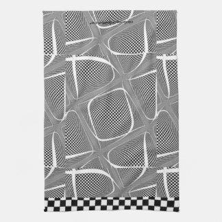 Paño De Cocina Remolino a cuadros blanco y negro