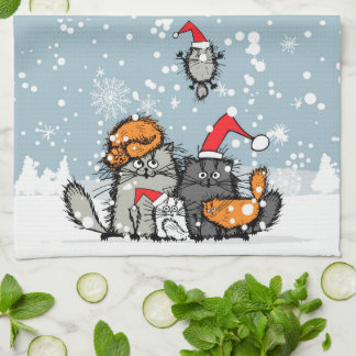 Paño De Cocina Retrato de la familia de gato en la nieve