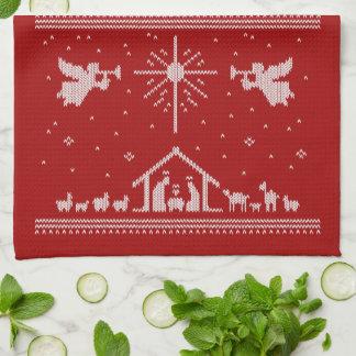 Paño De Cocina Rojo religioso del navidad de la natividad fea del