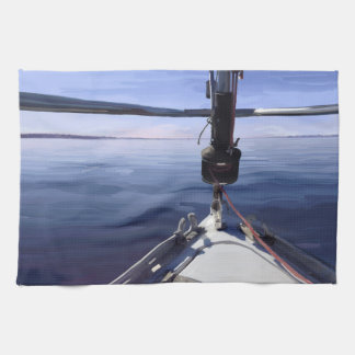 "Paño De Cocina ""Seaking barco de vela del horizonte"""