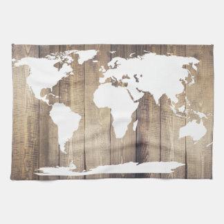 Paño De Cocina Tablones de madera rústicos del mapa del mundo