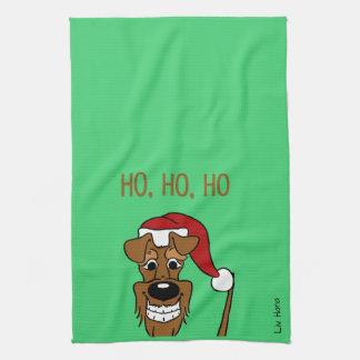 Paño De Cocina terrier irlandesa Santa