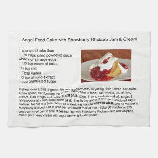 Paño De Cocina Torta de comida de ángel con ruibarbo de la fresa