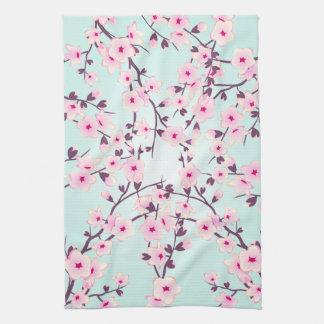 Paño De Cocina Turquesa rosada de las flores de cerezo bonitas