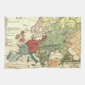 Paño De Cocina Vintage del mundo de los países del mapa de Europa