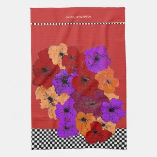 Paño De Cocina Wildflowers del invierno en rojo, púrpura y ámbar
